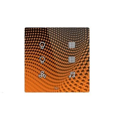 Pulsador táctil cuadrado - 6 áreas - Sensor temperatura y humedad - Negro personalizado