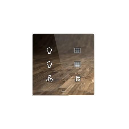 Pulsador táctil cuadrado - 6 áreas - Sensor temperatura y humedad - Blanco personalizado intercambiable