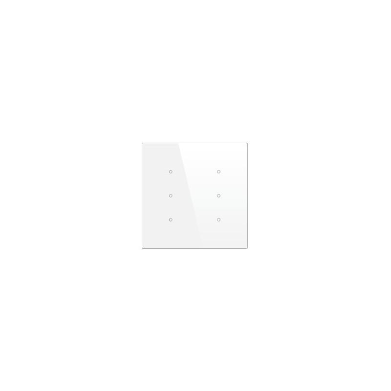 Pulsador táctil cuadrado - 6 áreas - Sensor temperatura y humedad - Blanco