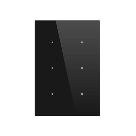 Pulsador táctil vertical - 6 áreas - Sensor temperatura y humedad - Negro