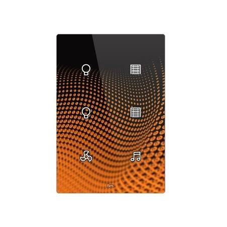 Pulsador táctil vertical - 6 áreas - Sensor temperatura y humedad - Negro personalizado