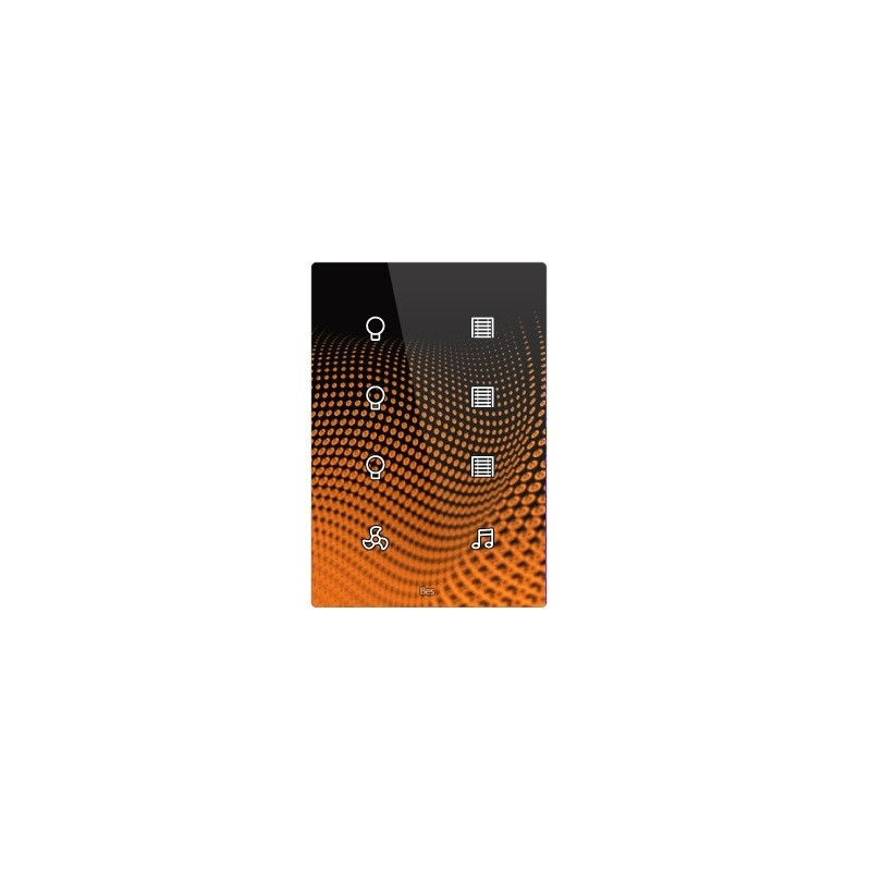 Pulsador táctil vertical - 8 áreas - Sensor temperatura y humedad - Negro personalizado