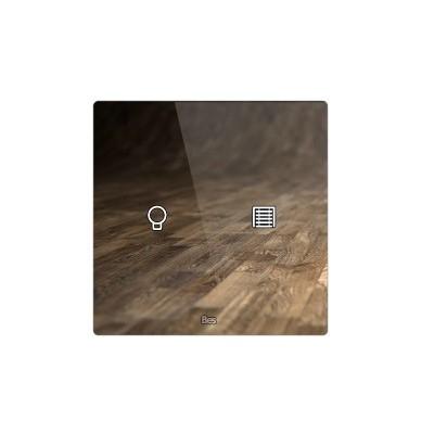 Pulsador táctil cuadrado - 2 áreas - Sensor temperatura y humedad - Blanco personalizado intercambiable