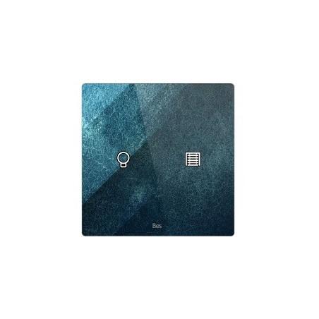Pulsador táctil cuadrado - 2 áreas - Sensor temperatura y humedad - Negro  personalizado intercambiable