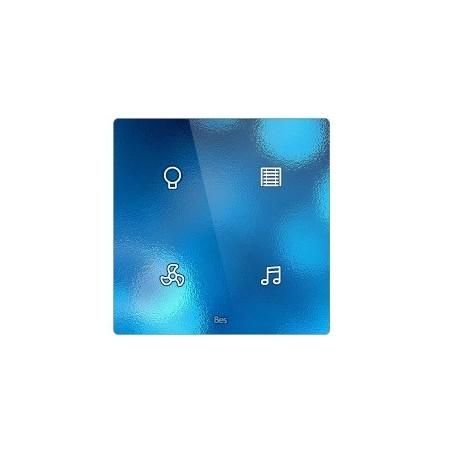 Pulsador táctil cuadrado - 4 áreas - Sensor temperatura y humedad - Negro personalizado intercambiable