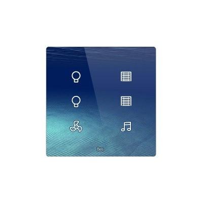 Pulsador táctil cuadrado - 6 áreas - Sensor temperatura y humedad - Negro personalizado intercambiable