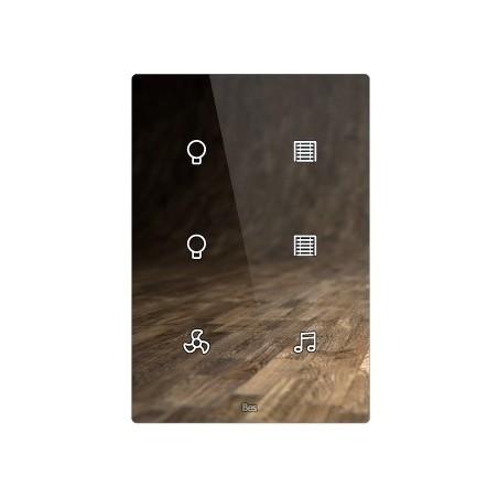 Pulsador táctil vertical - 6 áreas - Sensor temperatura y humedad - Blanco personalizado intercambiable