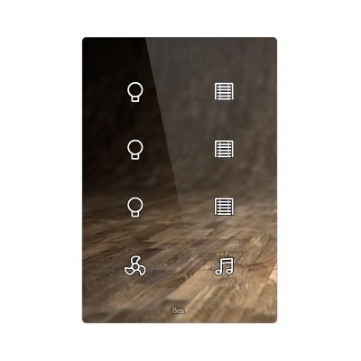 Pulsador táctil vertical - 8 áreas - Sensor temperatura y humedad - Blanco personalizado intercambiable