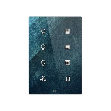 Pulsador táctil vertical - 8 áreas - Sensor temperatura y humedad - Negro personalizado intercambiable